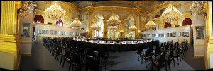 A panoramic picture of the set-up at the Royal Palace for the ASEM2010 summit