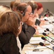 Picture taken in a meeting to illustrate the misconceptions about simultaneous interpretation