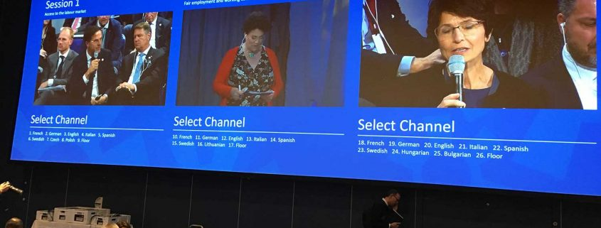 Channel selection available for simultaneous interpretation at the Social Summit for Fair Jobs and Growth in Gothenborg
